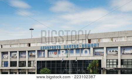 Santos Dumont Airport, Rio de Janeiro, Brazil - Dec 22, 2017: Outside the arrivals terminal at Brazil's Santos Dumont Airport, named after a Brazilian aviation pioneer