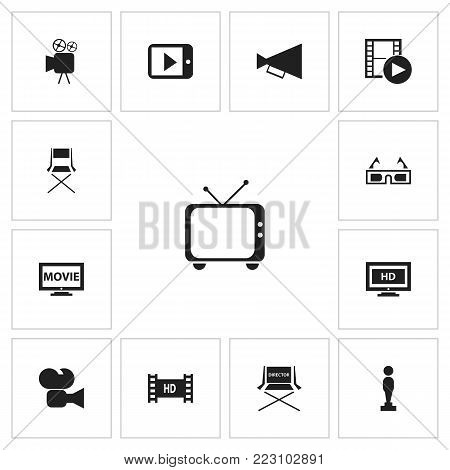 Set of 13 editable filming icons. Includes symbols such as retro tv, bullhorn, recorded media and more. Can be used for web, mobile, UI and infographic design.