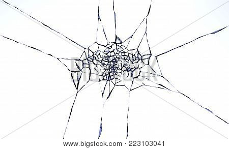 3D illustration of destructed or shattered glass surface over white background.