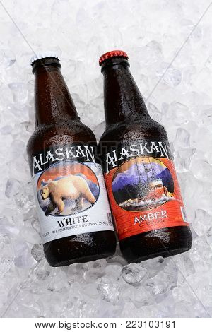 IRVINE, CALIFORNIA - JULY 16, 2014: Two bottles of Alaskan Brewing Co. beers on Ice. Alaskan Brewing, founded in 1986 in Juneau, Alaska, was the first Juneau brewery since prohibition.
