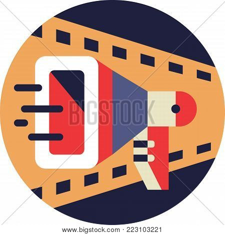 Cinema Directors Loudspeaker Icon in Flat Style