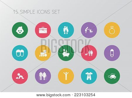 Set of 15 editable relatives icons. Includes symbols such as kid, couple, family and more. Can be used for web, mobile, UI and infographic design.