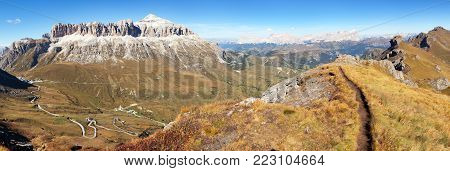 Autumnal view of Sella Gruppe and Piz Boe, Dolomites mountains, Italy