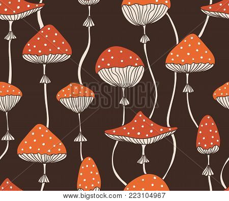 Vector seamless pattern with cute red fly-agaric amanita mushrooms. Doodle style background for fabric design.