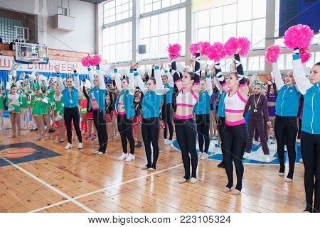 Kamenskoye, Ukraine - March 9, 2017: Championship of the city of Kamenskoye in cheerleading among solos, duets and teams, young cheerleaders perform at the city cheerleading championship