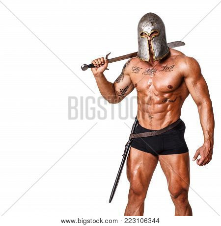 Image of warrior in pants and helmet