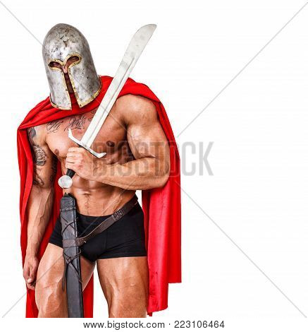 Image of shirtless warrior who is standing in his position