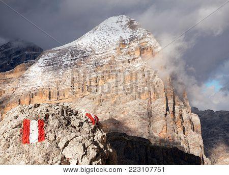 Tofana, Tofano or Le Tofane Gruppe with tourist sign, Dolomiti, Italy