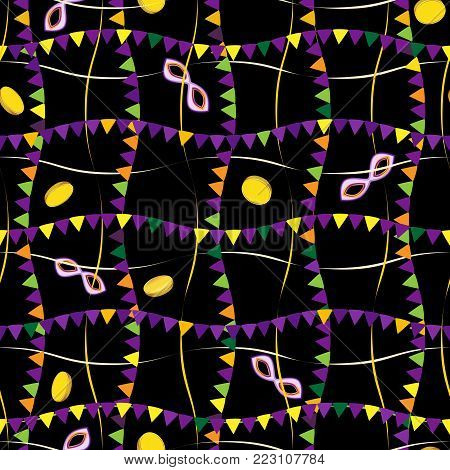 Vector seamless pattern of masks and Vector seamless pattern of beads masks and hats on the holiday Mardi Gras on the holiday Mardi Gras