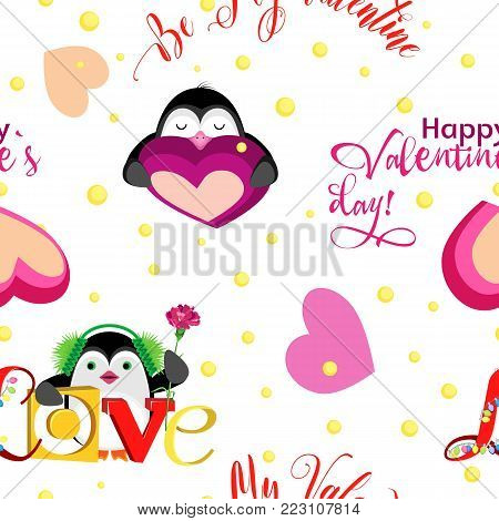 Vector pattern. On holiday, Valentine's Day with holiday penguins and inscriptions