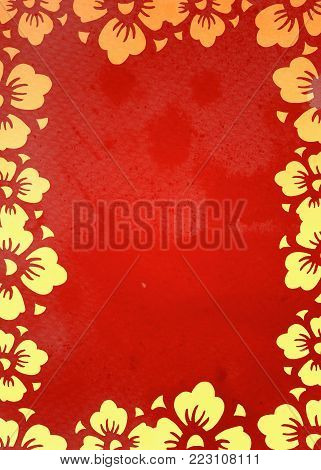 Border with golden cherry flowers on red watercolor background