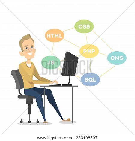 Isolated happy programmer sitting. Php and Java, SQL and CMS.