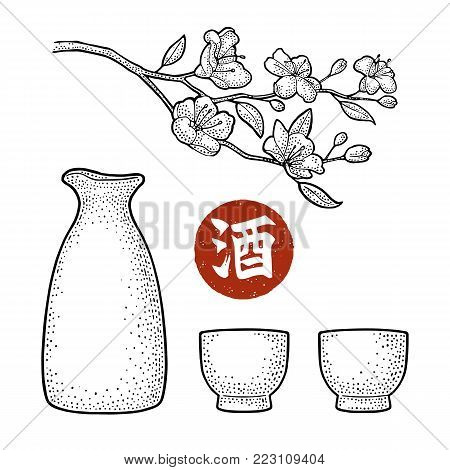 Sake glass, bottle and japan calligraphic hieroglyph. Sakura blossom. Cherry branch with flowers and bud. Vector vintage engraving black illustration for label, poster. Isolated on white background