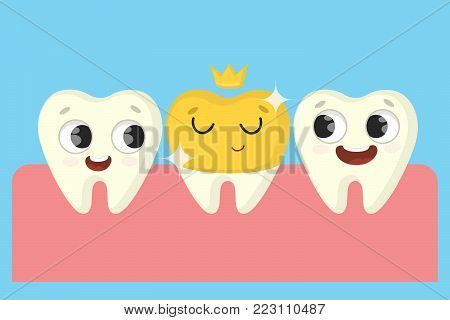 Bad tooth repairing. Cartoon funny teeth in mouth.