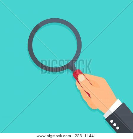 Hand holding a magnifying glass. Flat style - stock vector.