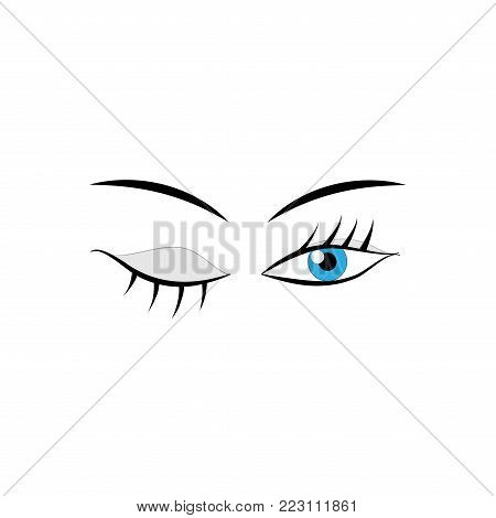 Eyes woman cartoon sign. Darling isolated icon. Fashion graphic design flat element. Modern stylish abstract symbol. Colorful template for prints, logo, label,tattoo, sign. Vector illustration