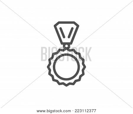 Award Medal line icon. Winner achievement symbol. Glory or Honor sign. Quality design element. Editable stroke. Vector