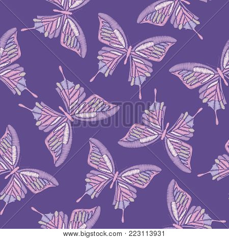 Ultra violet trendy seamless pattern. Embroidery butterflies on pantone colors of the year 2018 background. Vector illustration.