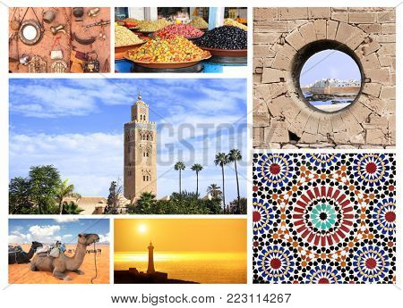Famous places of Morocco. Koutoubia Mosque minaret in Marrakech, traditional moroccan mosaic wall, camels in Sahara desert, medina Essaouira, pickled olives on Moroccan market, lighthouse in Rabat