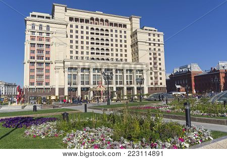 Four Seasons Hotel, View From The Manege Square. Moscow, Russia.