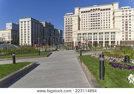 MOSCOW, RUSSIA, SEPTEMBER 22, 2017: Buildings of the State Duma of the Russian Federation and Four Seasons Hotel. View from the Manege Square. Sunny day in September.