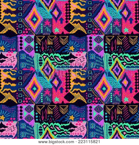 Tribal pattern. Ethnic print. Aztec. Abstract geometric fabric. Cloth design. Spiritual fashion. Mystical ornament. Navajo textile. Boho homespun. Hand drawn seamless vector.