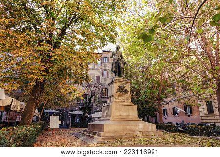 Rome, ITALY - December 8, 2017: Statue of the philosopher Nicola Spedalieri MCMIII in Rome, Italy. ROME, December 8 2017
