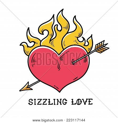 Tattoo flaming heart pierced by gold arrow. Sizzling love. Red burning heart. Passionate heart. Old-school styled tattoo of flaming heart