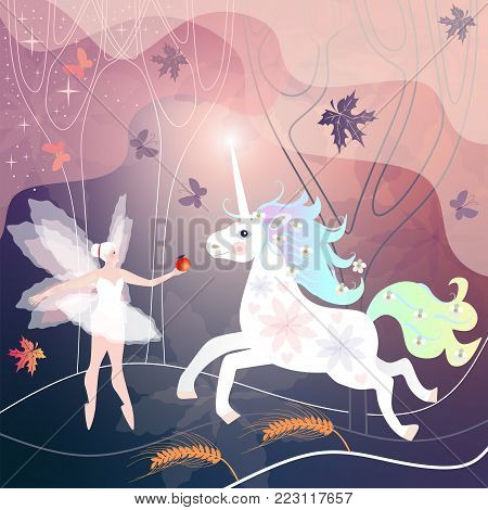 Beautiful fairy girl meets white unicorn in magic forest, where leaves and butterflies fly.