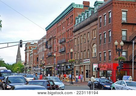 BOSTON - AUG. 13, 2011: Historic Buildings on Massachusetts Avenue at Harvard University, Cambridge, Boston, Massachusetts, USA.