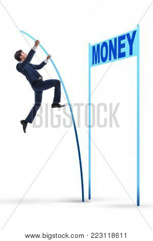 Businessman jumping over money in business concept