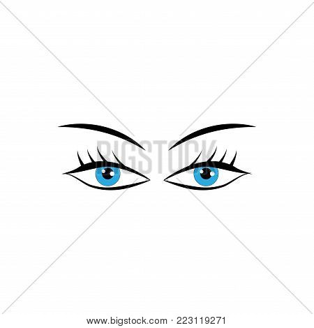 Eyes woman cartoon sign. Darling isolated icon. Fashion graphic design flat element. Modern stylish abstract symbol. Colorful template for prints, logo, label, tattoo, sign. Vector illustration