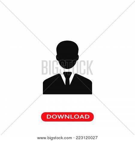 Businessman icon vector in modern flat style for web, graphic and mobile design. Businessman icon vector isolated on white background. Businessman icon vector illustration, editable stroke and EPS10. Businessman icon vector simple symbol for app, logo, UI