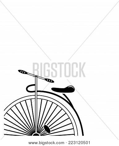 Minimal Vintage style penny farthing bicycle in partial form in black and white