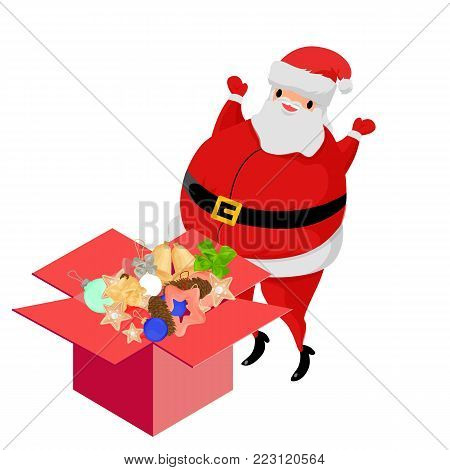 Cartoon Santa Claus with gifts. santa claus with box. santa claus marry christmas, santa claus character, santa claus xmas, santa claus symbol, Vector illustration