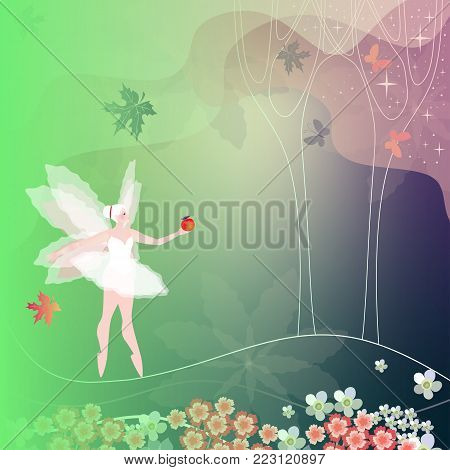 Winged fairy with red apple in summer forest. Card, napkin, wrapping design.
