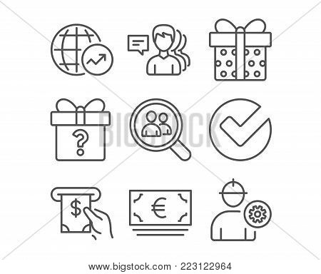 Set of Secret gift, Search employees and Verify icons. World statistics, Atm service and Euro currency signs. People, Gift box and Engineer symbols. Unknown package, Staff analysis, Selected choice