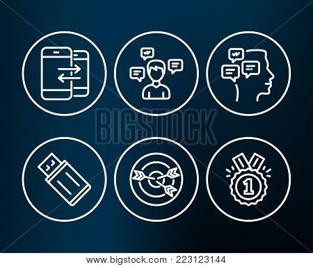 Set of Messages, Phone communication and Targeting icons. Usb flash, Conversation messages and Approved signs. Notifications, Incoming and outgoing calls, Target with arrows. Vector