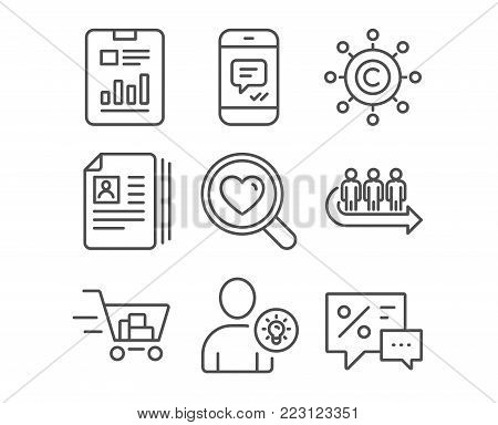 Set of Cv documents, Queue and User idea icons. Shopping cart, Copywriting network and Report document signs. Search love, Message and Discounts symbols. Portfolio files, People waiting, Light bulb