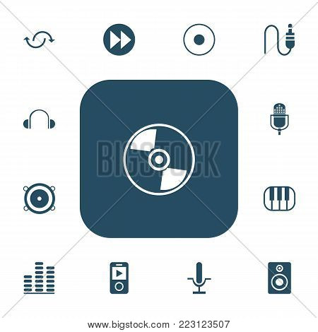 Set of 13 editable sound icons. Includes symbols such as studio mic, advanced, music speaker and more. Can be used for web, mobile, UI and infographic design.