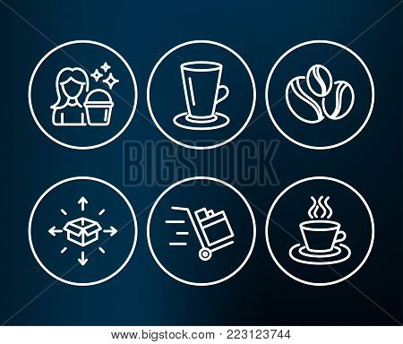 Set of Coffee-berry beans, Teacup and Cleaning icons. Parcel delivery, Push cart and Tea cup signs. Coffee beans, Tea or latte, Maid service. Logistics service, Express delivery, Coffee mug. Vector