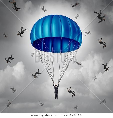 Corporate insurance and business protection concept as a businessman with a blue parachute being saved while others falling with 3D illustration elements.