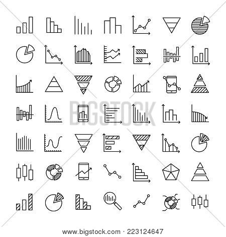 Set of 49 diagram thin line icons. High quality pictograms of graph. Modern outline style icons collection. Graphic, chart, infographic, scheme, etc.