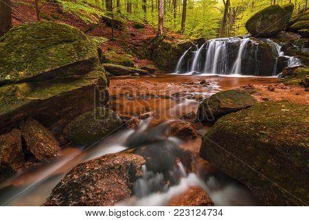 Small Stolpich waterfall in the Jizera Mountains, Czech Republik