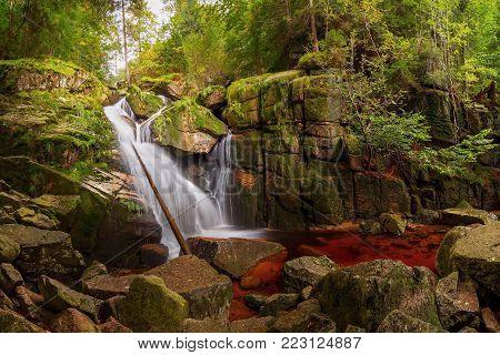 Black Creek waterfall in the Jizera Mountains, Czech Republik