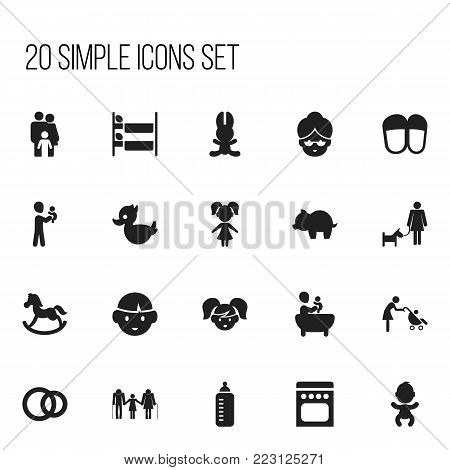 Set of 20 editable family icons. Includes symbols such as bath toys , grandma, pony. Can be used for web, mobile, UI and infographic design.