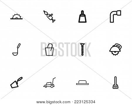 Set of 12 editable apparatus icons line style. Includes symbols such as lawn mower, cuisine utensil, soup ladle and more. Can be used for web, mobile, UI and infographic design.
