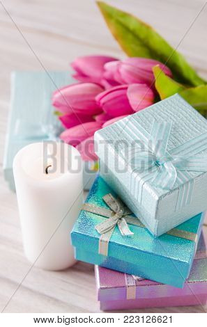 Giftboxes arranged on the table in saint valentine holiday concept