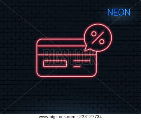 Neon light. Credit card line icon. Banking Payment card with Discount sign. Cashback service symbol. Glowing graphic design. Brick wall. Vector
