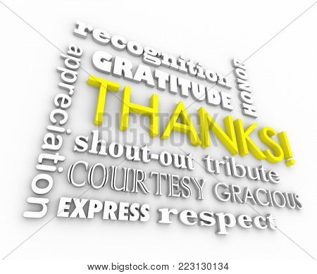 Thanks Gratitude Word Collage Thank You 3d Illustration